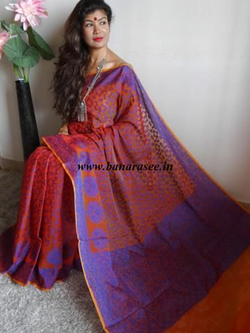 Banarasee/Banarasi Super Net Saree With Jaal Design-Red