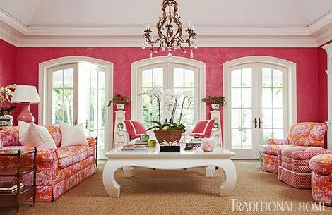 Pink Living Room by designer Robin Weiss in her Palm Beach home