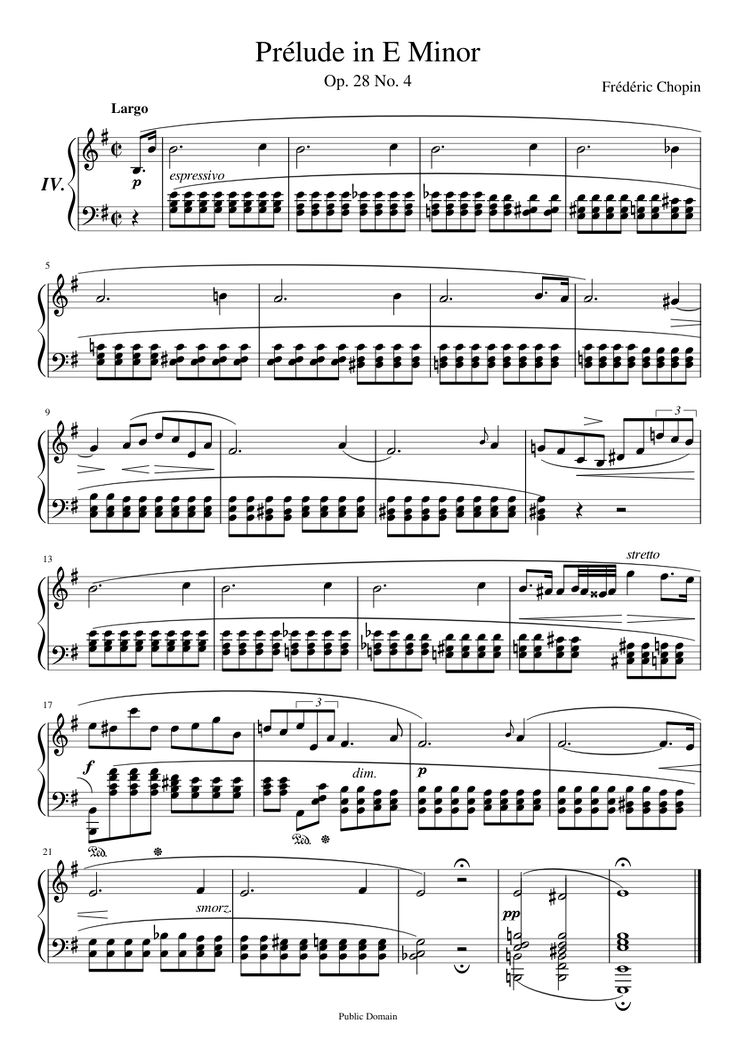 prelude in e minor op 28 no 4 Télécharger 206 des partitions gratuites prelude in e-minor op 28 no 4, partitions, composition musicale prélude.