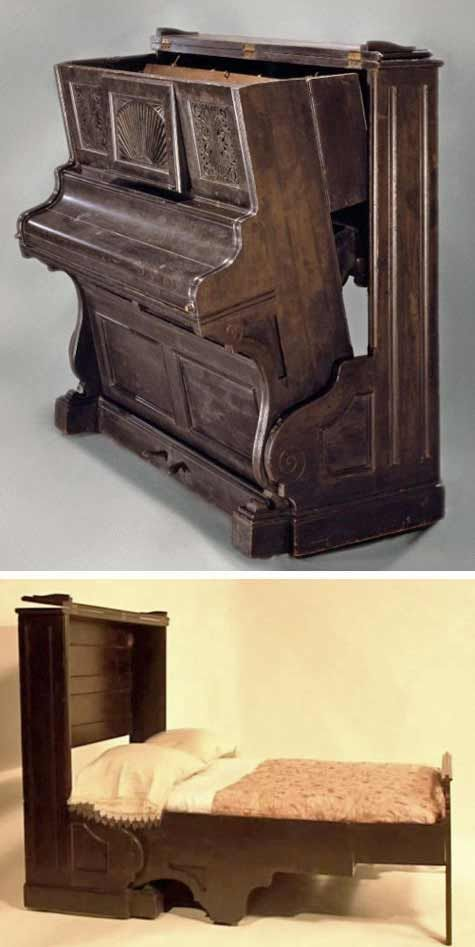 Why not keep the old piano and hide a bed on the back of it? MurphybedHQ.com