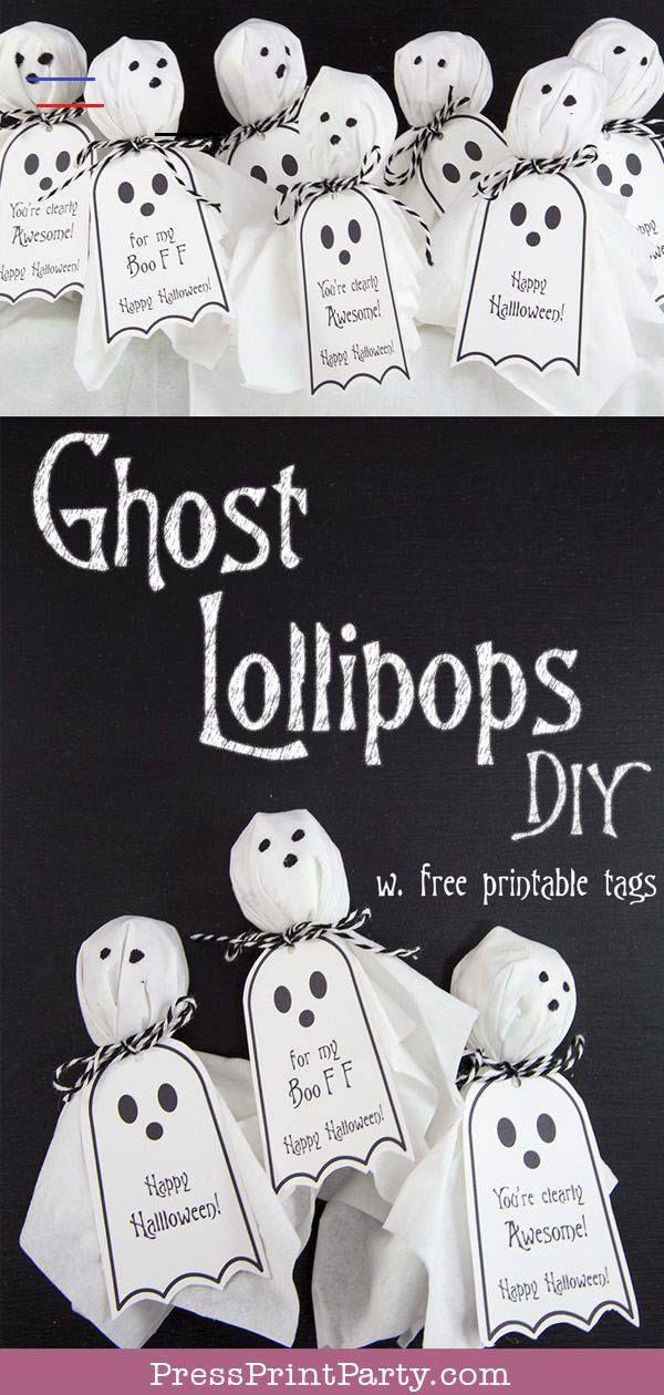 Halloween 2020 Premise Ghost Lollipops w. FREE Printable Halloween tags   Press Print