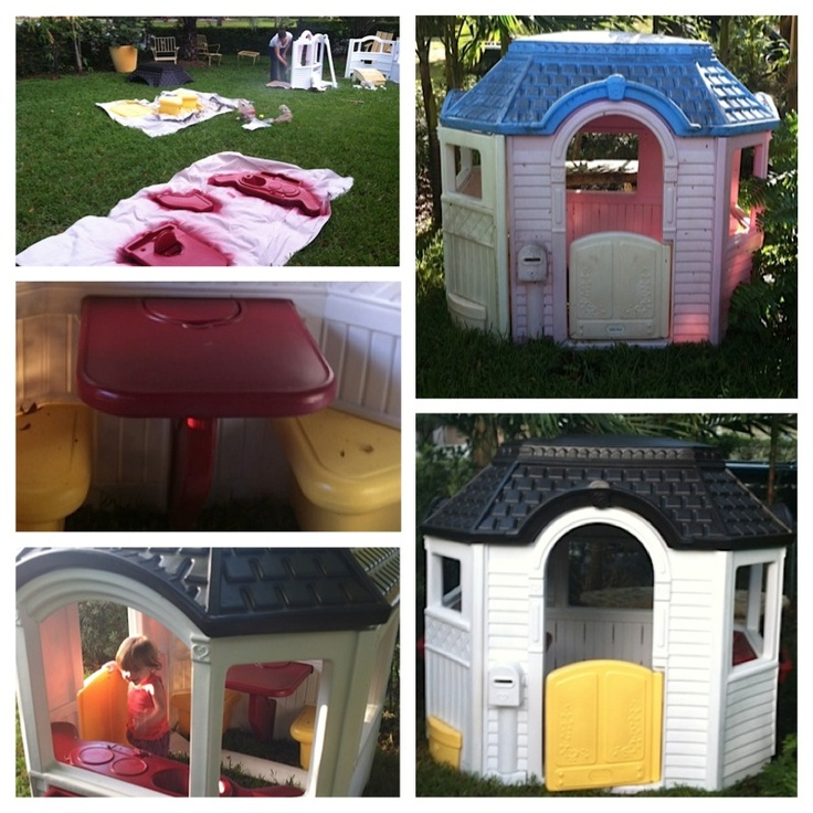 our weekend project done! got the idea from here to do a makeover on a little tikes house a friend gave us- Very happy with the turn out and Ava loves it! We took it apart pressure cleaned it and used Rustoleum spray paint for plastic