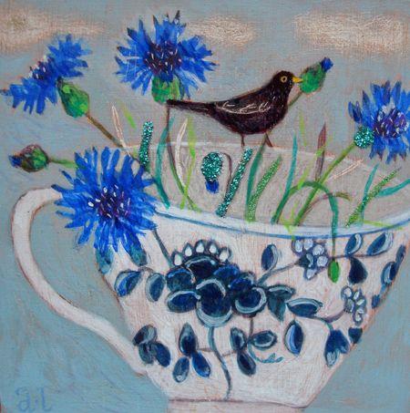 Andrea Letterie, Blackbird and cornflower, Gemengde techniek op paneel, 15x15 cm, €.225,-