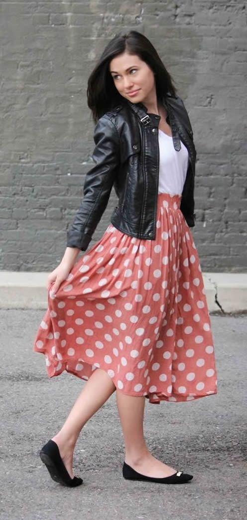 Leather Jacket Midi Skirt Casual