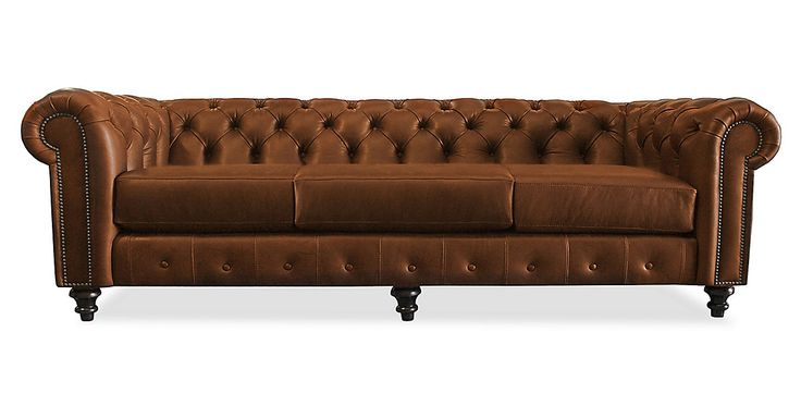 Luxury never goes out of style. This timeless chesterfield features a classic silhouette, deep tufting, and rich leather upholstery. Resting on turned feet, a nail-head trim finishes the piece.