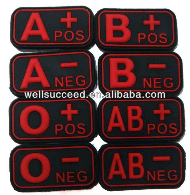 Blood Type Patch rubber badge,PVC patch,Promotional badge $0.55~$1