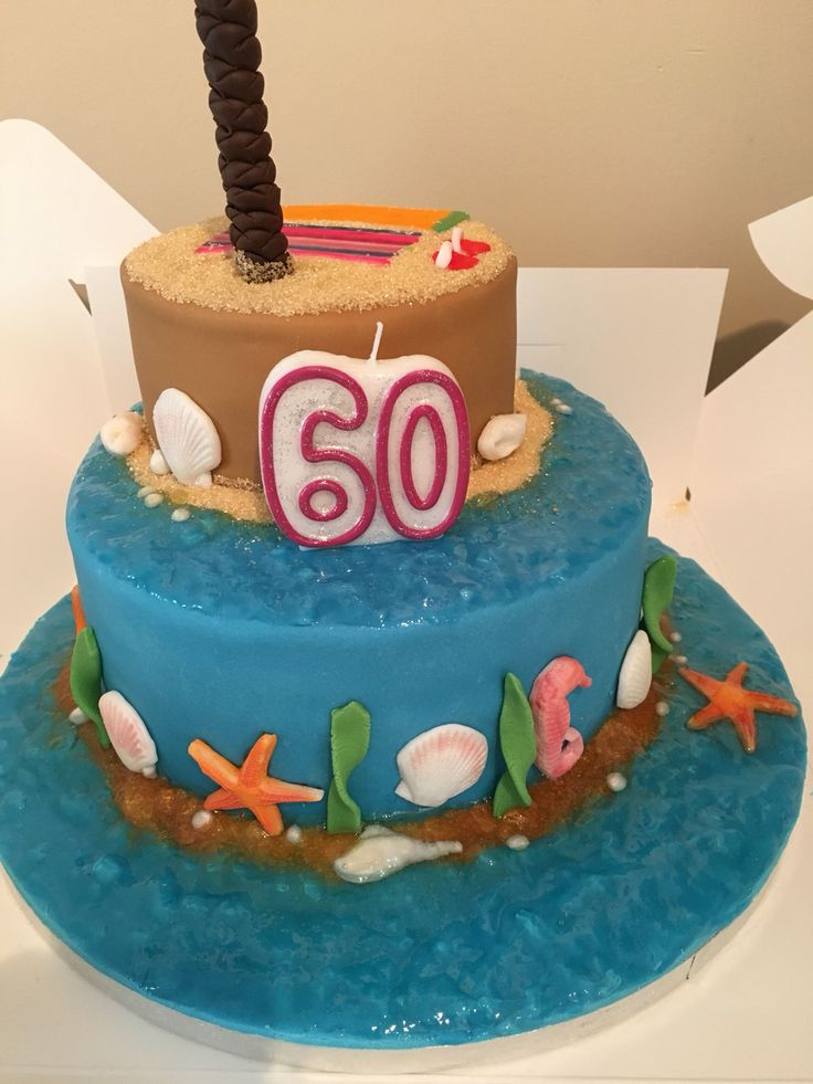 Holiday/Beach themed 60th birthday cake