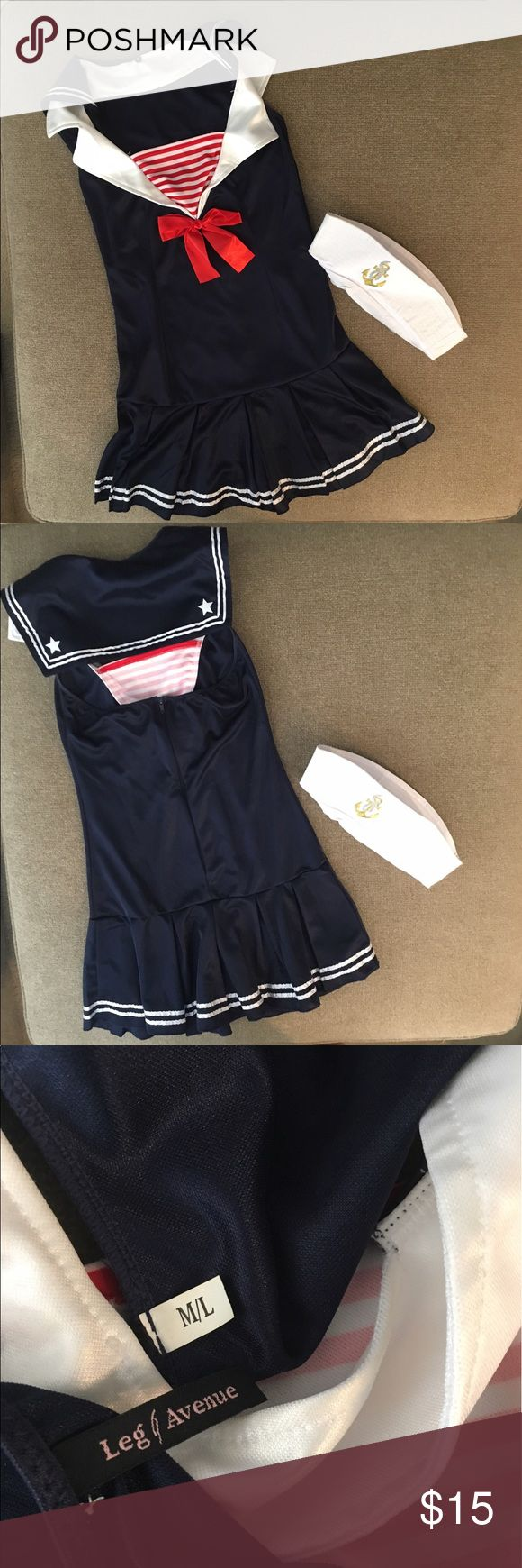 Leg Ave ur Sailor Halloween Costume M/L Halter style dress with hat. Worn once. Great length. Size M/L Leg Avenue Other
