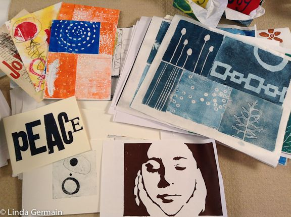 monotype prints by linda germain. Love the blue one.