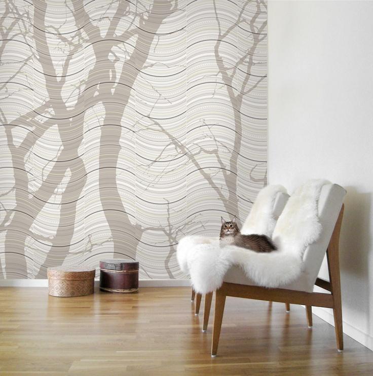 Wave - Beige - Wall mural, Wallpaper, Photowall, Home decor, Fototapet, Valokuvatapetit