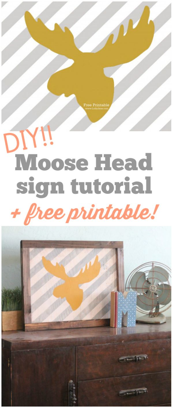 FREE striped moose head printable!! |via LollyJane.com