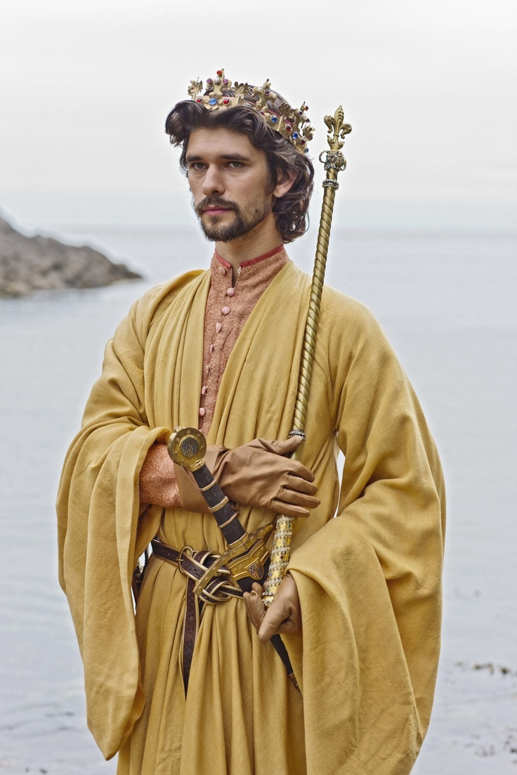 "Ben Whishaw, Richard II in BBC 2012,  The Hollow Crown Let's talk of graves, of worms, and epitaphs; Make dust our paper and with rainy eyes Write sorrow on the bosom of the earth, Let's choose executors and talk of wills""  ― William Shakespeare, Richard II"