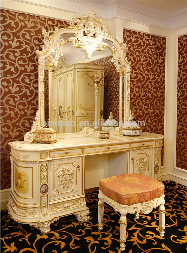 Luxury french rococo bedroom furniture dresser table Luxury wood furniture