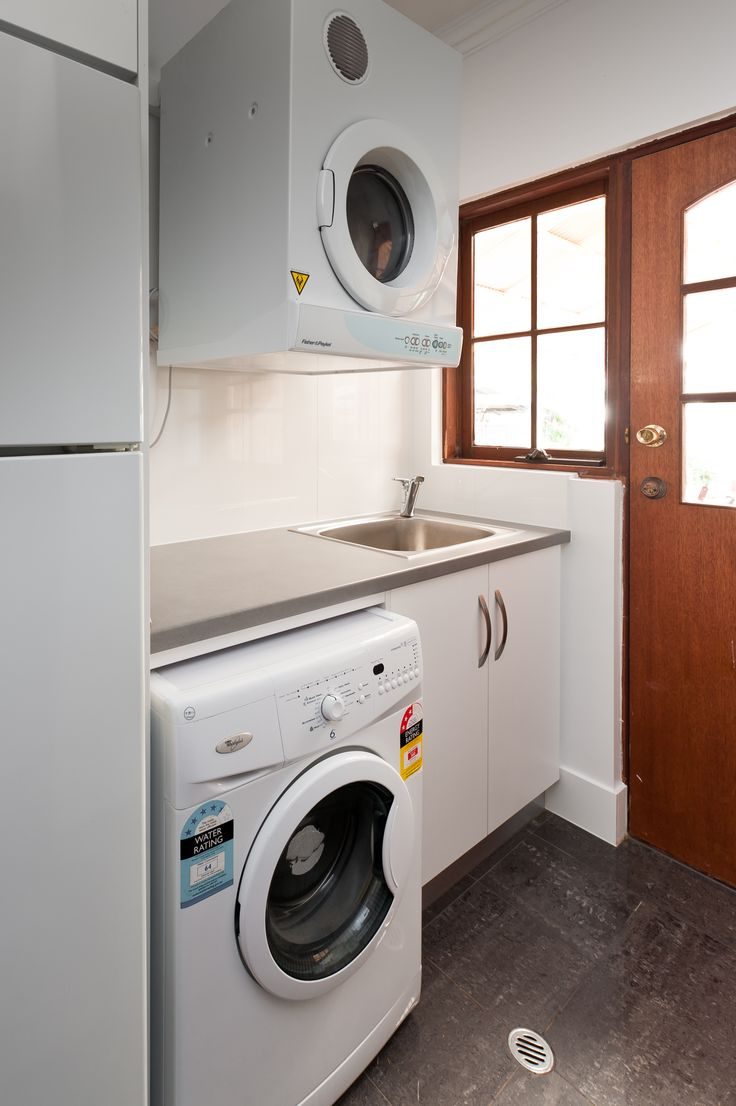 For the smaller compact laundries spaces this design still gives functionality and move-ability in smaller spaces. #brilliantsa #laundry #renovation #compact #functional #move-ability