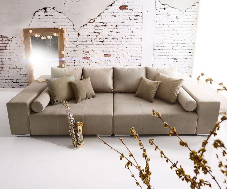 Big-Sofa Marbeya 285x115 cm Grau 10 Kissen Möbel Sofas Big Sofas
