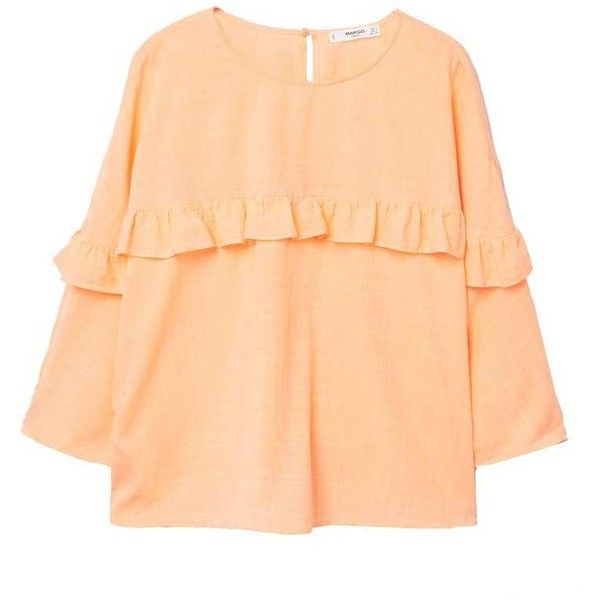 Ruffled Panel Blouse (€30) ❤ liked on Polyvore featuring tops, blouses, beige blouse, batwing sleeve blouse, flutter blouse, three quarter length sleeve tops and 3/4 sleeve tops