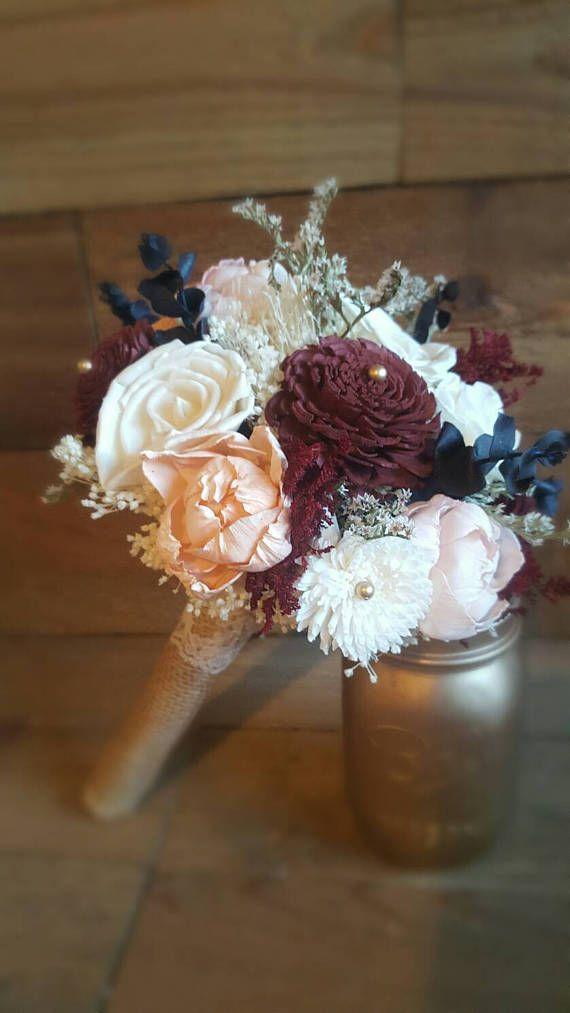Bridal Burgundy Peach Blush Navy Blue and Ivory Sola Flower