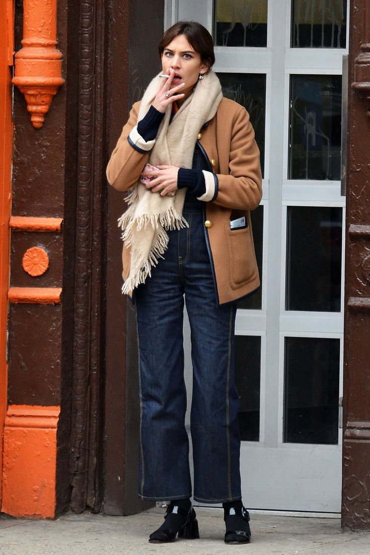 Alexa Chung outside for a smoke in New York City on March 22, 2016