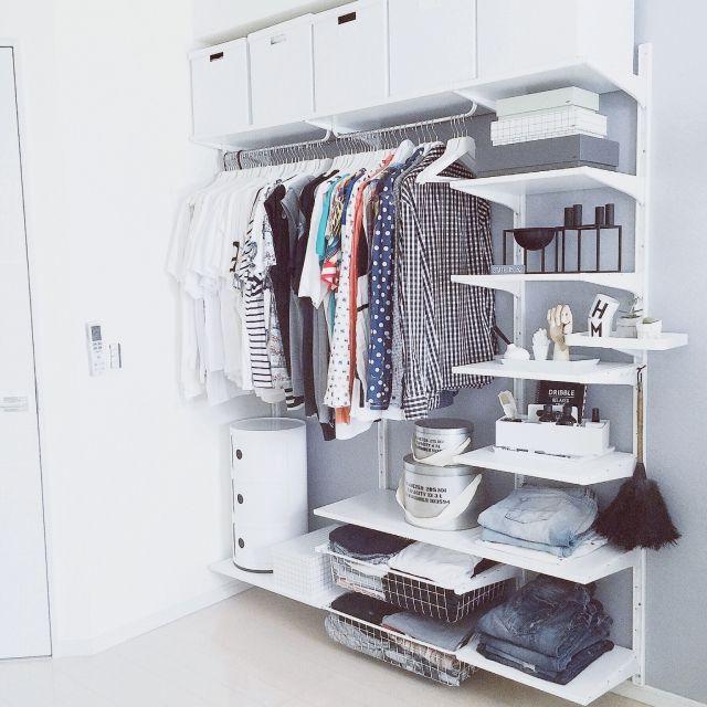 Mi-naHiさんの、部屋全体,IKEA,収納,洋服収納,コンポニビリ,白黒,モノトーン,ホワイトインテリア,見せる収納,PUEBCO,HAY,after,スッキリ,グレー&ホワイト,ホワイト大好き,ALGOT,のお部屋写真