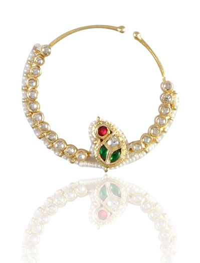 Nose ring with pearls and kundan stones in 92.5 sterling silver.