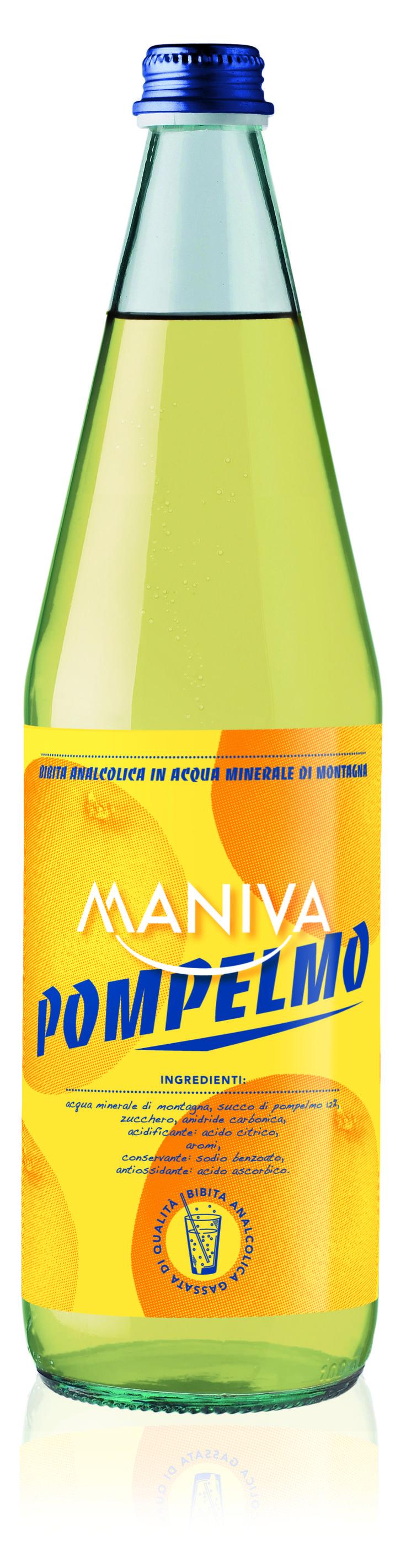 POMPELMO Bibita analcolica frizzante, di alta qualità garantita anche dalla leggera acqua minerale di montagna di cui è composta