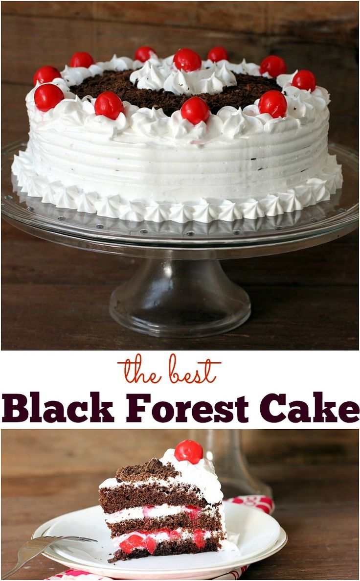 To die for moist chocolate cake with cherry filling and whipped cream frosting. www.sailusfood.com