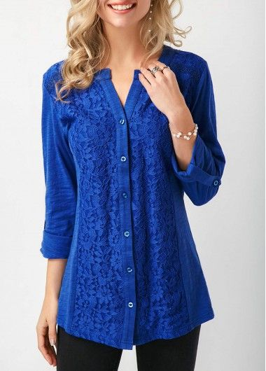 Button Up Roll Tab Sleeve Royal Blue Blouse on sale only US$31.11 now, buy cheap Button Up Roll Tab Sleeve Royal Blue Blouse at liligal.com