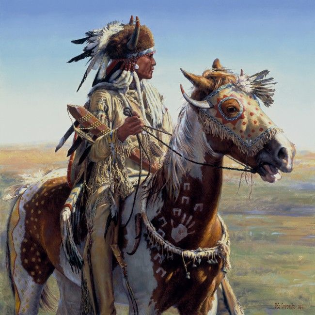 "Title: ""Today we will look our best,... And you will take me where I want to go,... Tomorrow they will tell stories of our deeds!"" (Painting by Bob Cornado, Oil on Canvas)."