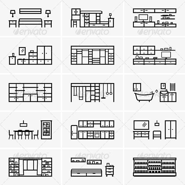 Gráficos Vetoriais, Vector Vector, Ícone, Mobiliário De Design, Design  Gráfico Ilustração, Vectors, Kitchen Lamps, Cabinet Design, Icon Part 90