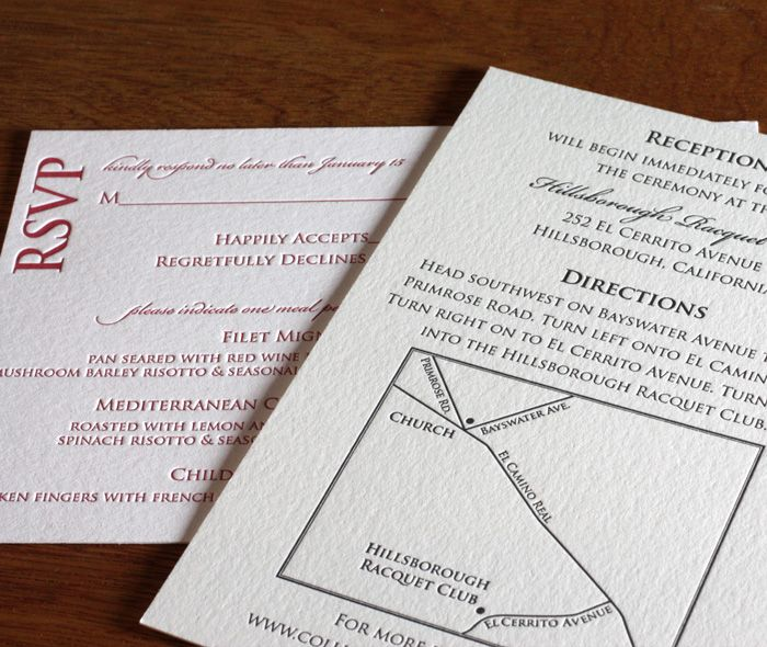 Anne Letterpress Wedding Invitation Response Postcard With