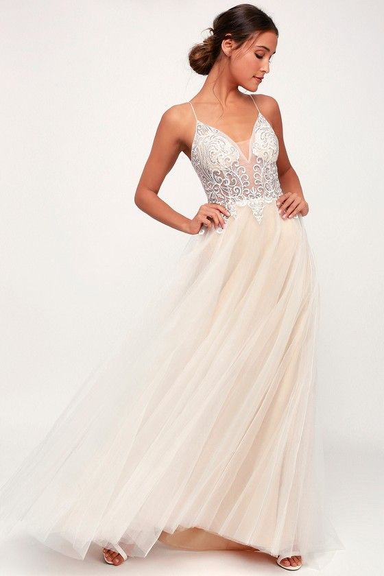 f725d0ca10e ... Giselle White and Nude Embroidered Rhinestone Maxi Dress! This stunning  dress starts at skinny mesh straps that fall to a plunging