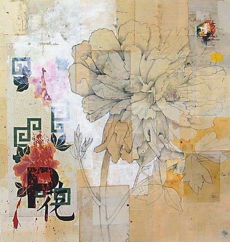 https://flic.kr/p/33dDFN   Peony 2   paint, mixed media, collage on panel  48x45