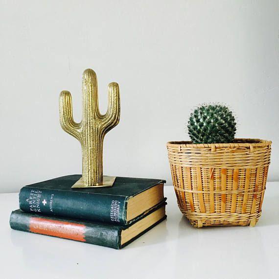 Vintage Brass Cactus Bookend Mid Century Southwestern Decor Gold Cactus Botanical