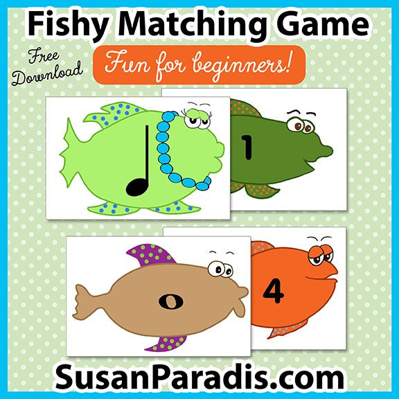 Fishy Matching Game | Free Piano Teaching Resources | Match rhythm values