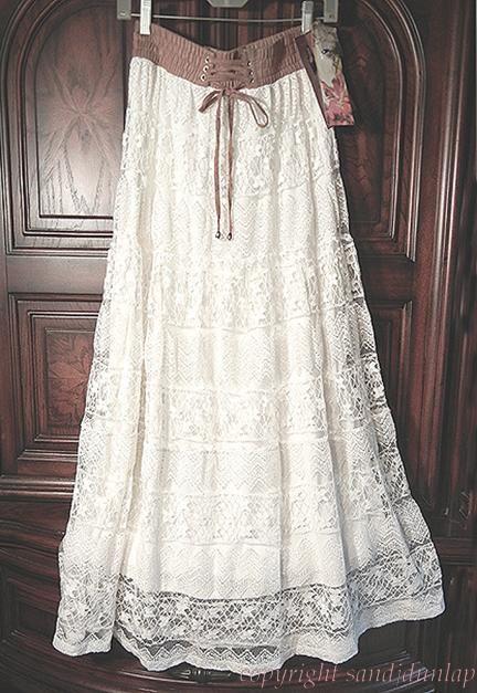 NEW LAPIS Pale Ivory ~Victorian Vintage~ LACE Peasant Prairie Skirt ~L 12/14~