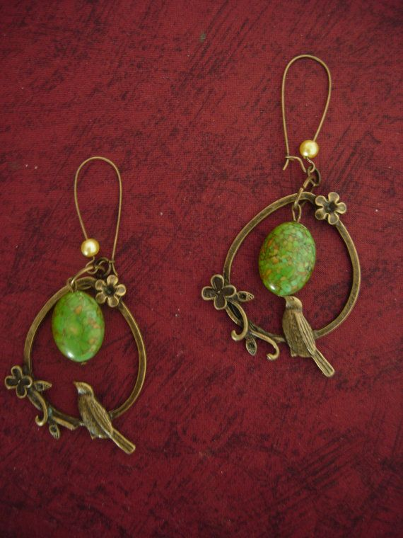 The charming birds antiqued vintage birds earrings with by eltsamp, $25.00