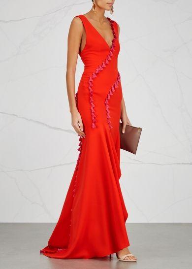 98ee92d7368 Galvan Cuzco red tassel trimmed gown