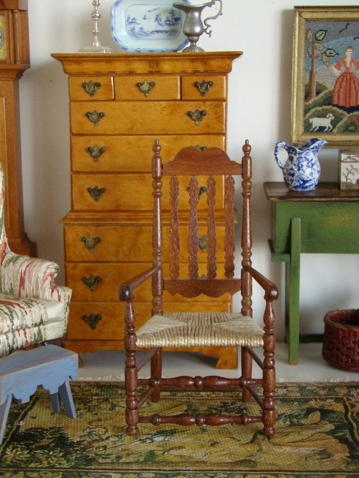 miniatures dollhouse furniture. vintage artisan miniature banister back arm chair by gerald crawford furnituredollhouse miniatures dollhouse furniture