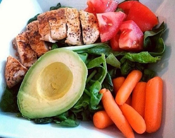 Jen Selter Post workout Meal: Chicken, avocado, greens, carrots, Tomato