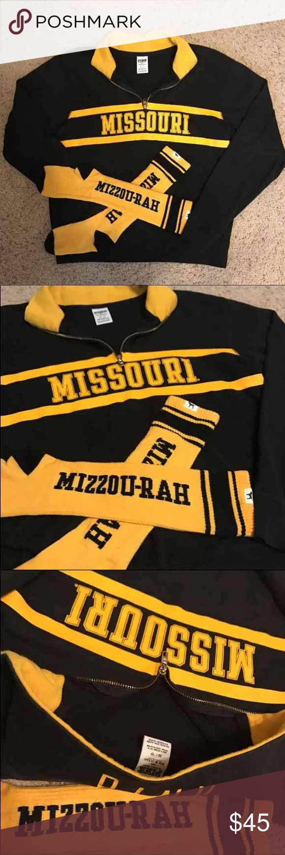 """Victoria's Secret PINK Jacket And Socks Bundle University of Missouri """"Tigers""""  Victoria's Secret PINK Collegiate Collection bundle  Lot of 1 Half Zip Jacket with Front Pocket  And pair of Mizzou-Rah! Knee High Socks Jacket is In Excellent Used Condition!  And Socks are in Good Used Condition. Size XS  Make an Offer! All Reasonable Offers Accepted! PINK Victoria's Secret Tops Sweatshirts & Hoodies"""