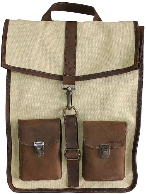 Kjøre Project's leather/Canvas Survey Backpack will keep your hands free when you're traveling or just heading out. Constructed with our incredibly New Zealand leather, sapiently treated with the most antique techniques of Italian tanning; here in this new model with heavy Cream Canvas and Leather. Our Backpack is what can be use daily, ensuring strength over the years and continued improvement with time. A zip pocket inside in order to store you more personal effects and two small pockets…
