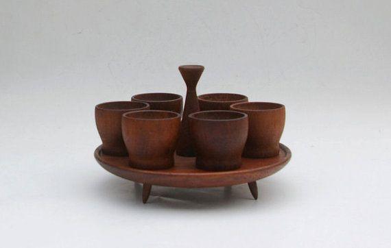Vintage teak egg cups set with tray