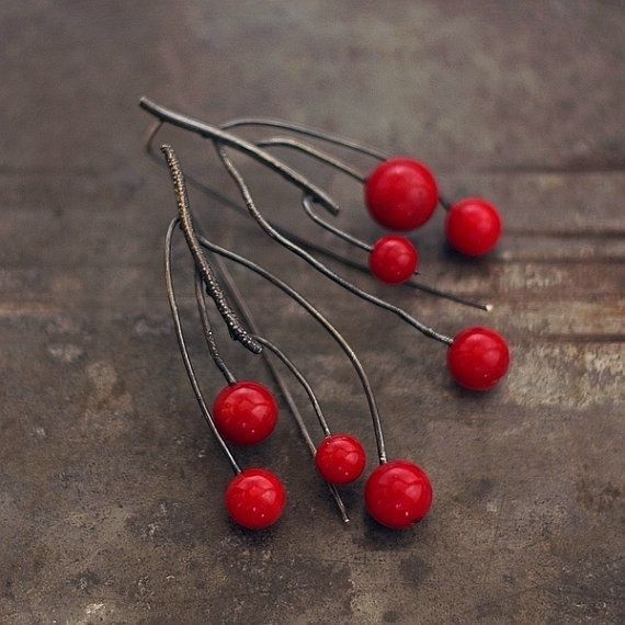 red coral earrings • long twig earrings • sterling silver 925 • raw silver • gifts for her • cluster earrings • raw twig  •