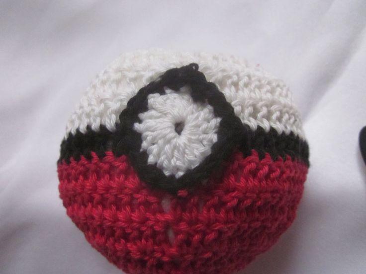 plush pokeball toy, manga toy pokemon toy, crocheted cotton yarn by knightwhosaidknit on Etsy #pokeball