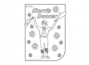 morris dancer colouring in picture hundreds more free activities at ichildcouk