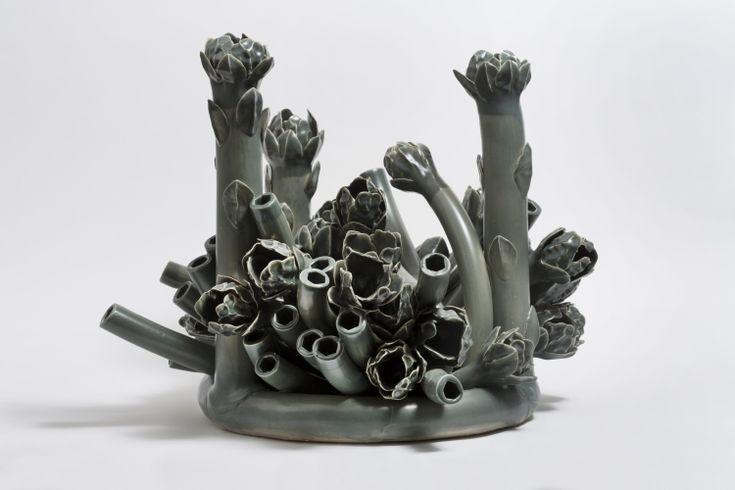 "Title: Flora in Gray Series Title: Flora Series Artist: Anat Shiftan Date: 2016 Technique: handbuilding Temperature: cone 6 Glazing / Surface Treatment: glaze Material: porcelain Height: 26""   Width: 23""   Depth: 23"""