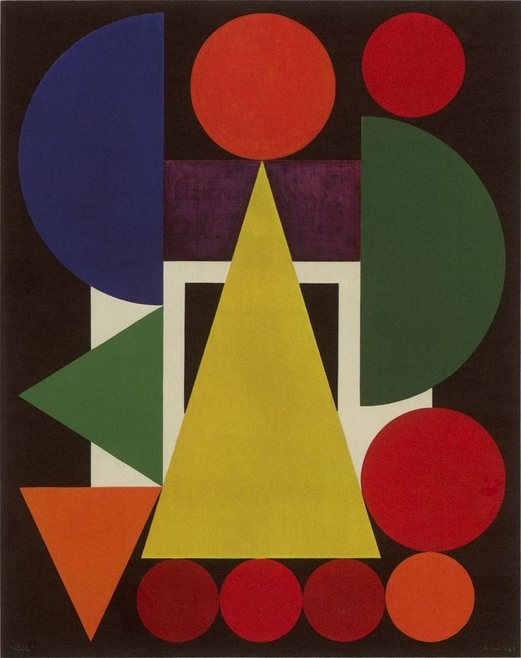 Auguste Herbin (1882-1960) French Cubist and later abstract painter whose work forms a bridge between the Cubist movement and post-war geometrical abstract painting.The pure geometrical shapes and positive colours of his later abstract works had considerable influence on various younger abstract painters. Was also active in the 1950s as a designer of tapestries. Died in Paris.