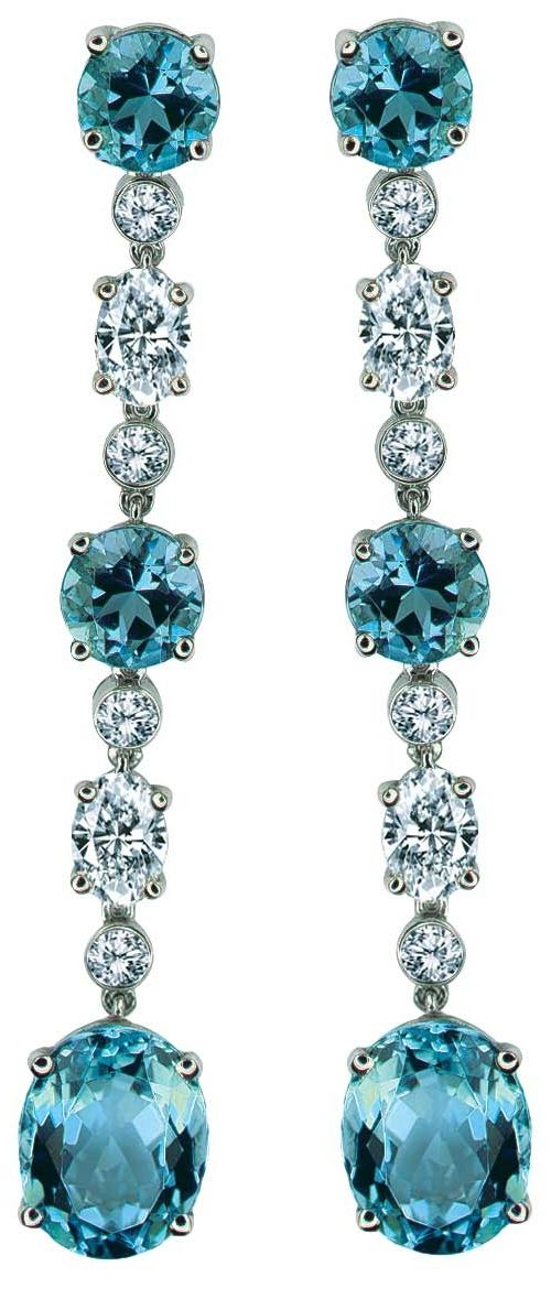~ ♥ ~ THE GOWN BOUTIQUE ~  ♥ ~   Aquamarine and Diamond Earrings by Gumuchian, via cijintl