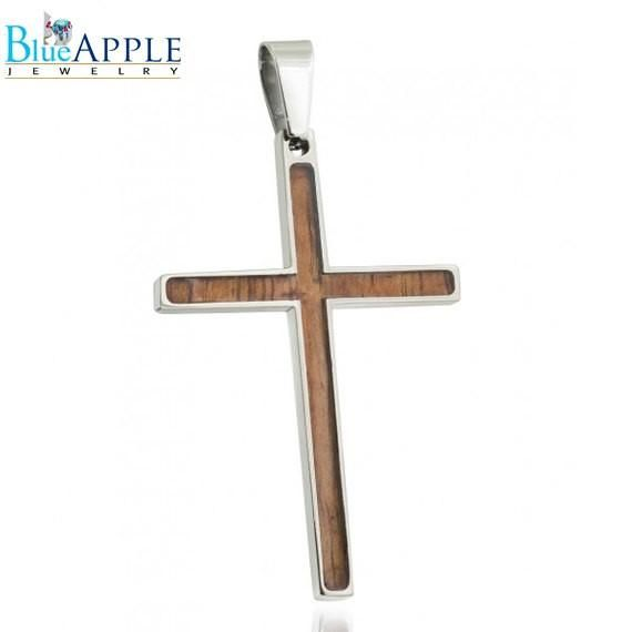 Titanium Pendant with Hawaiian Koa Wood Inlay stainless steel chain is NOT included Excellent Daily Gift Design