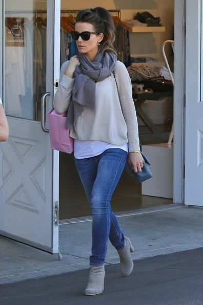 Boots, Jumper and Hair - casual chic from Kate Beckinsale